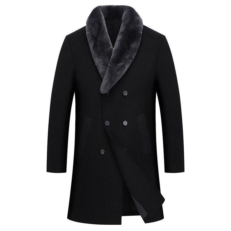 Mode-Männer schwarze Wollmischung Overcoat Kunstpelzkragen Abnehmbare starke warme Revers Zweireiher Lange Mäntel Plus Size K071