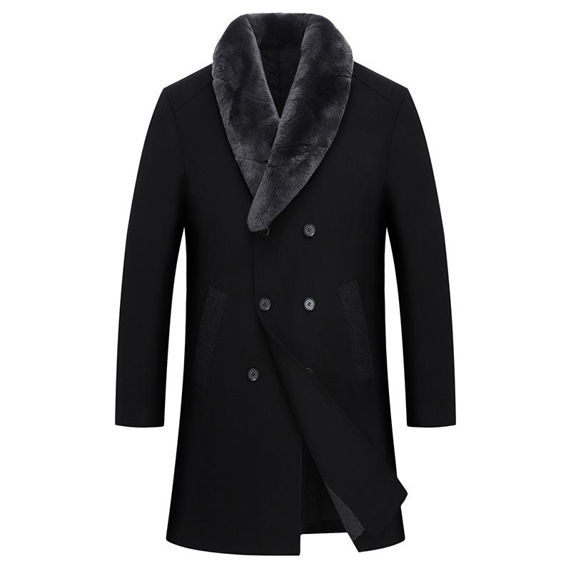 Fashion Mens Black Wool Blend Overcoat Faux Fur Collar Removable Thick Warm Lapel Double Breasted Long Coats Plus Size K071
