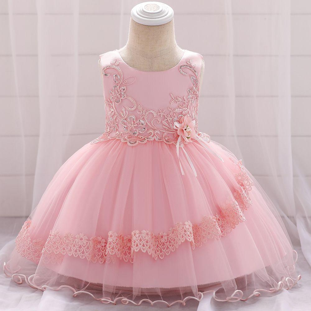 Großhandel Bestickte Pailletten Blume Spitze Tutu Baby Mädchen Kleider  Geburtstagsparty Kleid Mädchen Taufe Prinzessin Hochzeit Baby Kleid L10xz