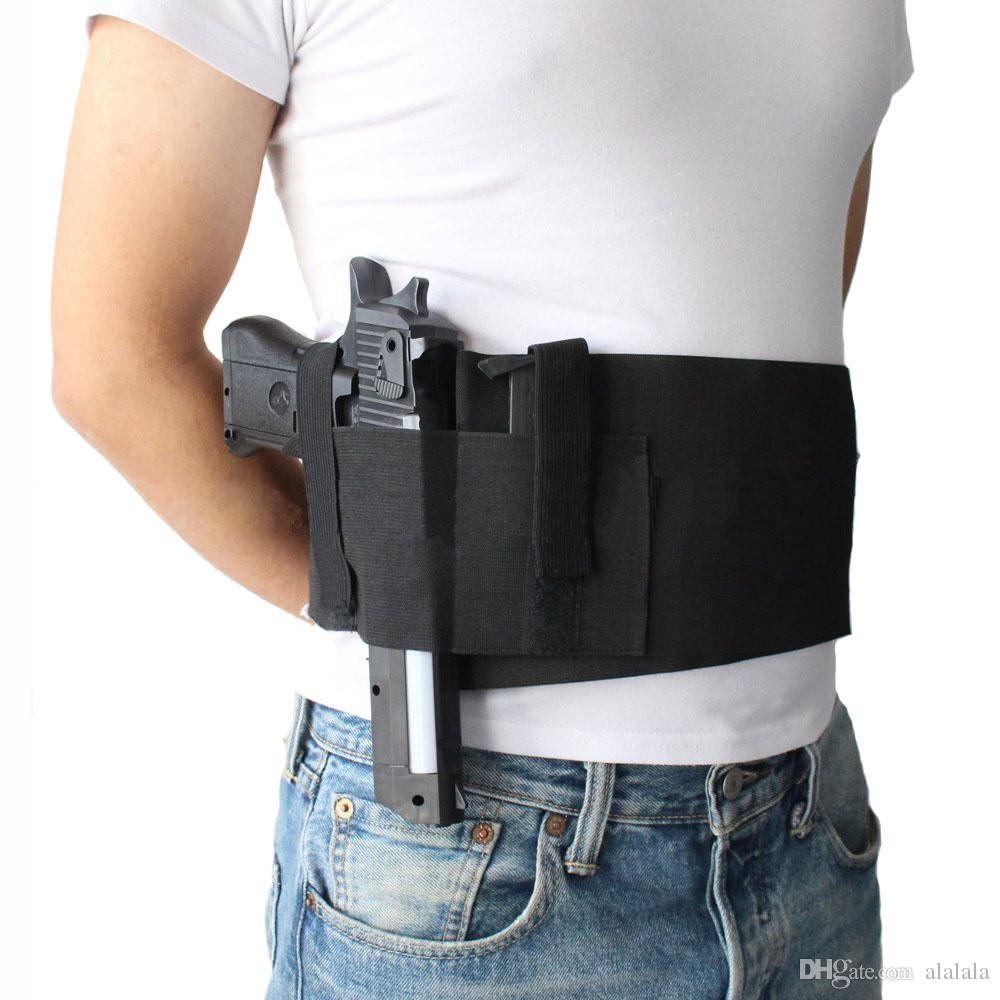 Fondina tattica regolabile Belly Band Pistola Fondina pistola nascosta Carry Pistol Gun Custodia Custodia elastica pistola fondina con 2 sacchetti Mag Bag