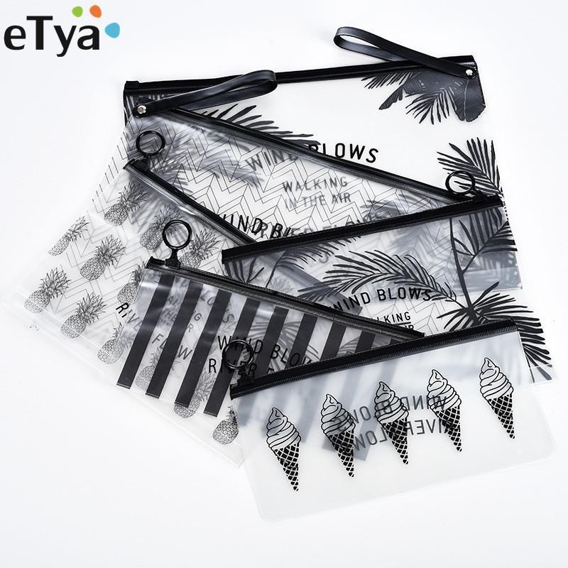 Viagem ETYA Moda Mulheres claro transparente Cosmetic Bag Pequeno Grande PVC Necessary Makeup Bag Caso Bath Wash Organizador Set Pouch