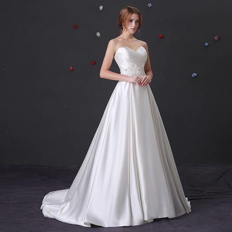 New Günstige Einfache Stain A Line Brautkleider Schatz Fleck Bodenlangen Mit Spitze Hochzeit Brautkleider roben de mariée 3901