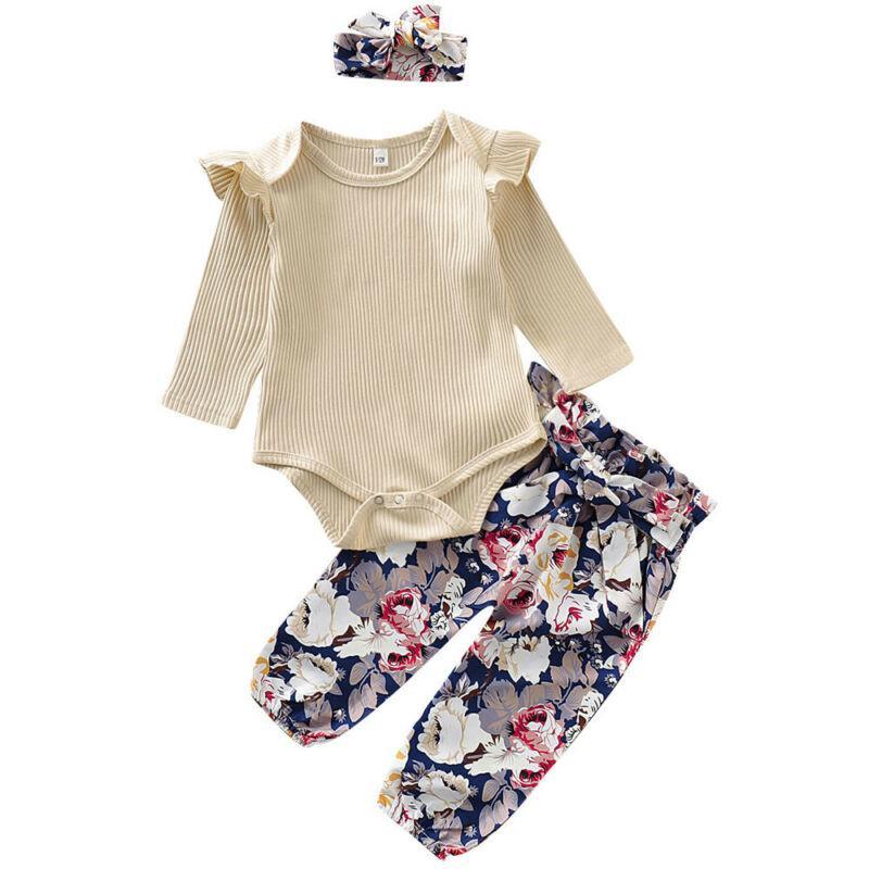 New'in 3adet Bebek Kız bebekler Uzun Kollu Romper Baskı Pantolon Kıyafet