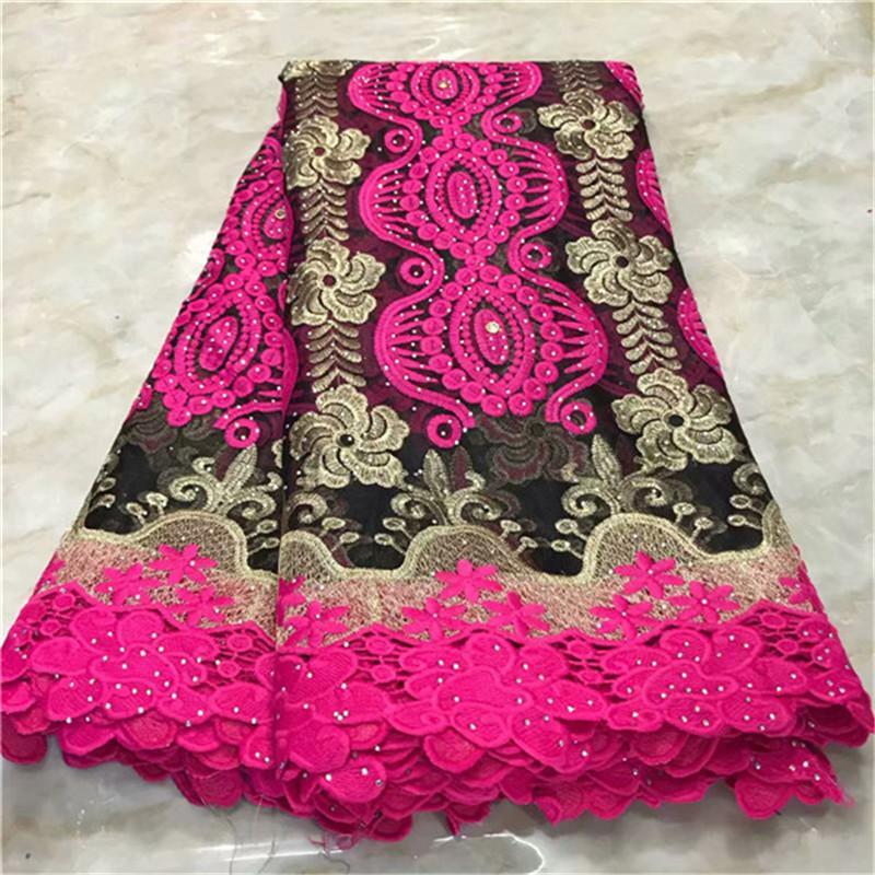 2019 Mais Recente Africano Cord Lace Fabric with Stones Mais Recentes Laços Africanos Guipure Lace Alta Qualidade Tecidos de Renda Nigeriano Para O Vestido