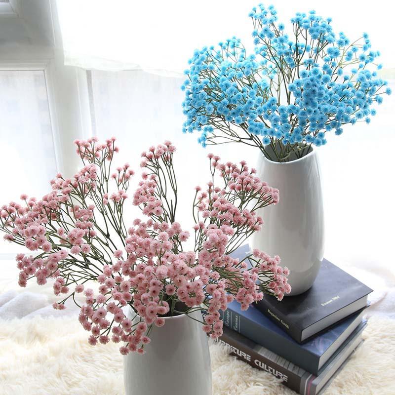 BluePinkYellow Gypsophila Искусственный Цветок Детское Дыхание Поддельные Шелковые Цветочные Растения Главная Свадьба Украшения Товары Для Домашних Животных
