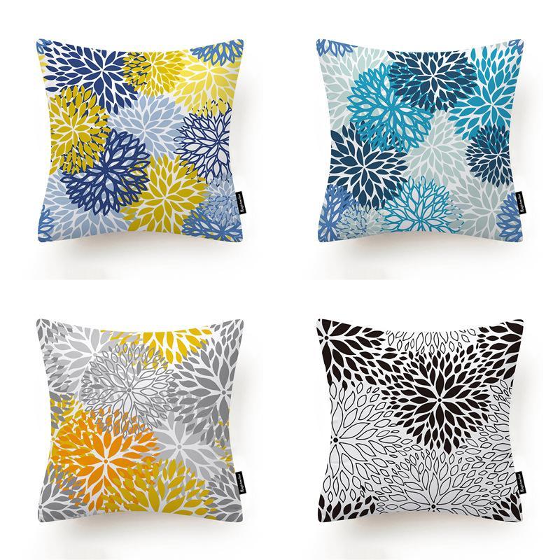 Nordic абстрактный цветок наволочка желтый синий серый простой открытый украшения дома наволочка