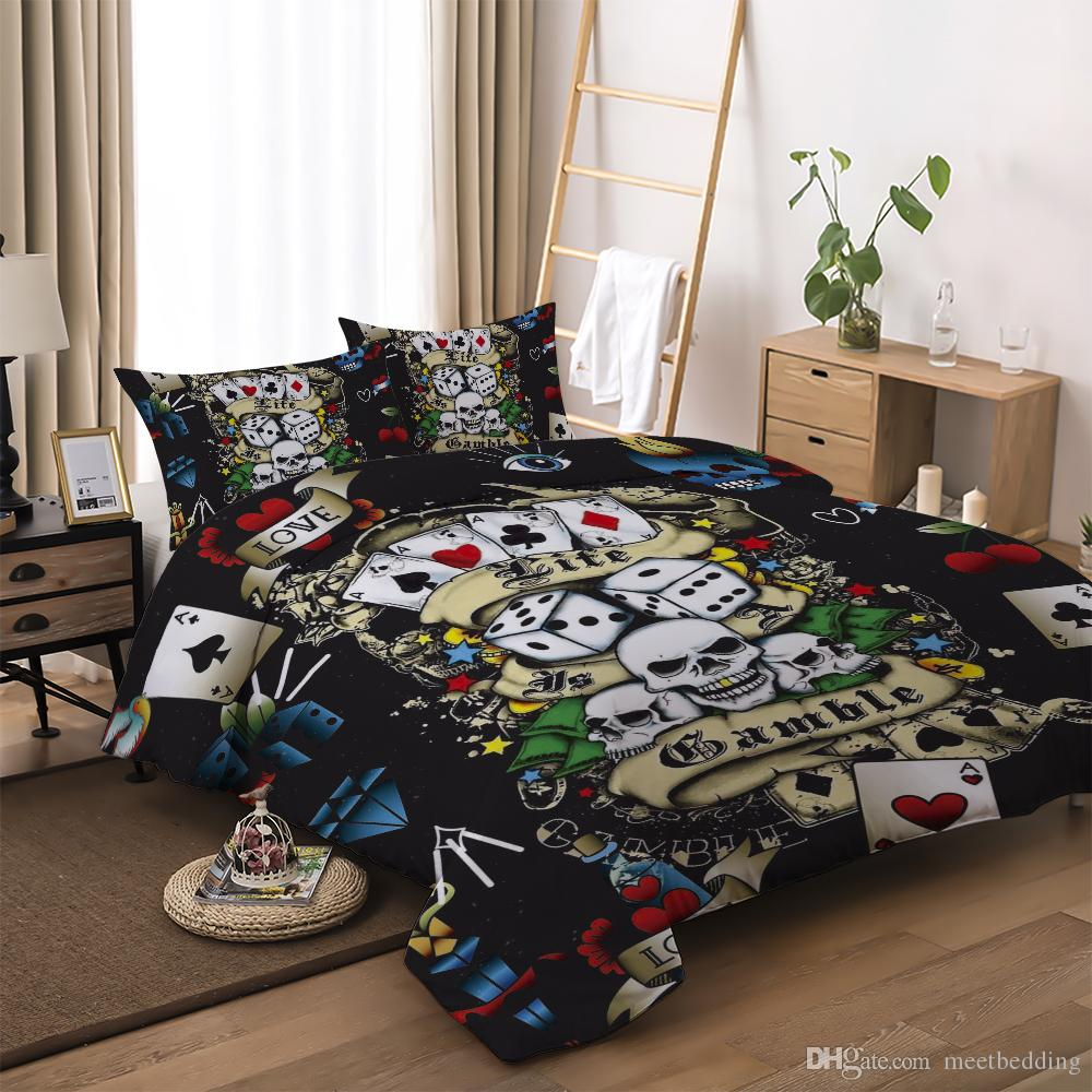 3D Print skull series Bedding Set king Twin Queen Size 2 / 3 pcs Home Bedclothes with dice skull poker of bedding suit
