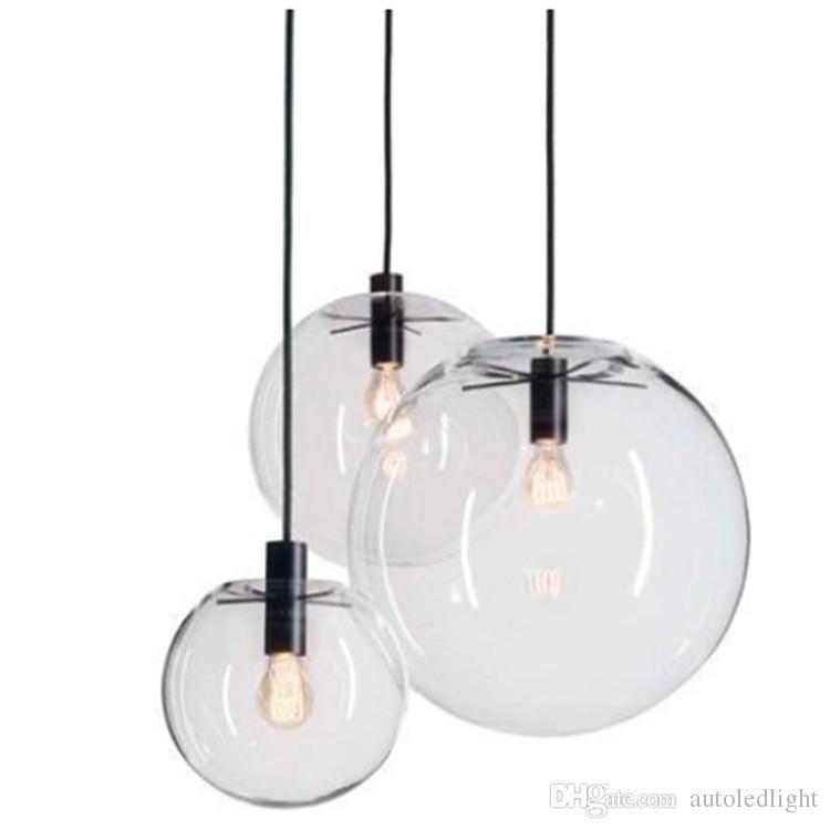 Cuerda Colgante Luces Globo de cromo Bola de cristal Hanglamp Lustre Suspensión Luces de cocina Accesorio luces colgantes para el hogar E27