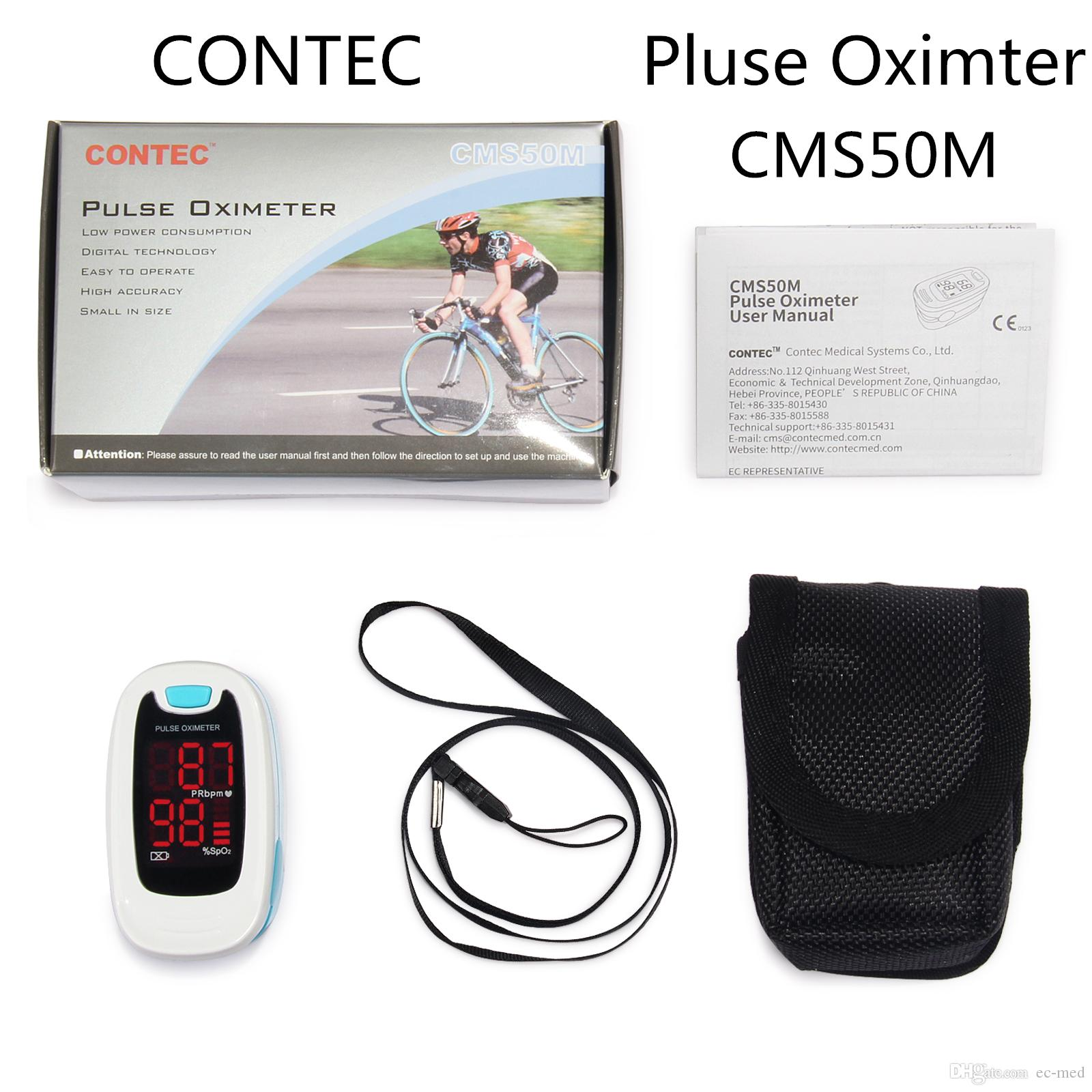 CMS50M кончик пальца пульсоксиметр кислорода крови Spo2 / PR монитор с чехол LED черный мешок бесплатная доставка
