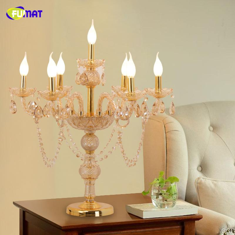 FUMAT Crystal Table Lamps Modern Art Copper Stand Lights For Living Room Bedside Floor Lights LED Fabric Shade Floor Lamp