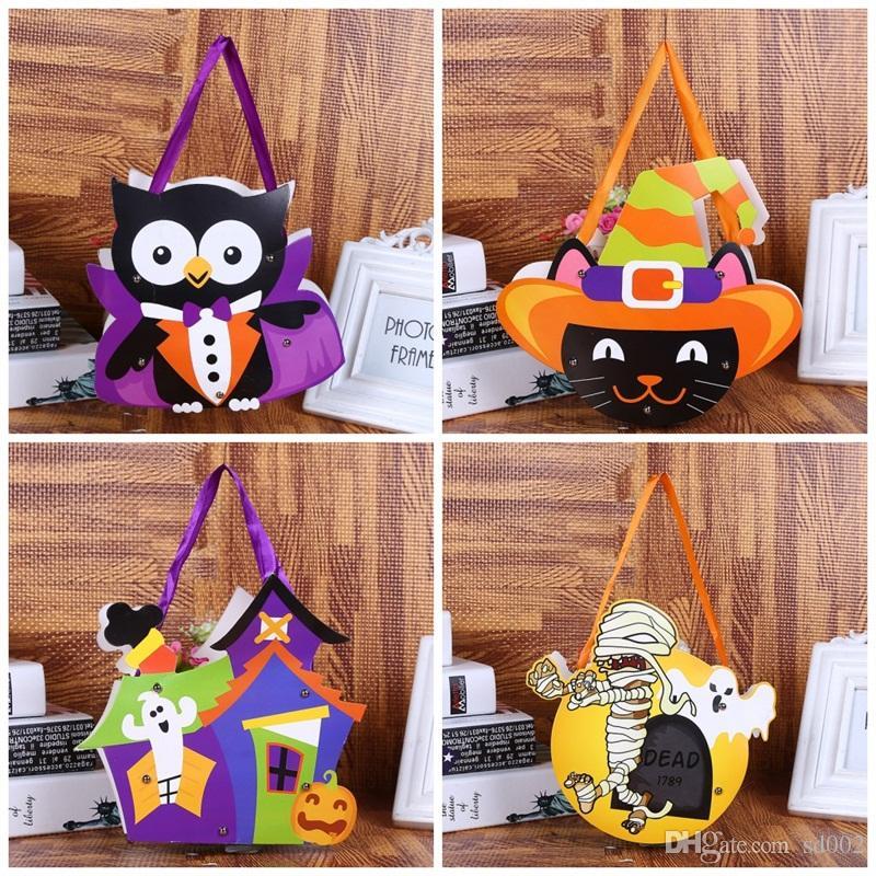 Niños DIY Handmade Halloween Handbag Hand Held Candy Bags Paper Kindergarten Gift Wrap Bag For Party Supplies 12styles 1 2cy E1