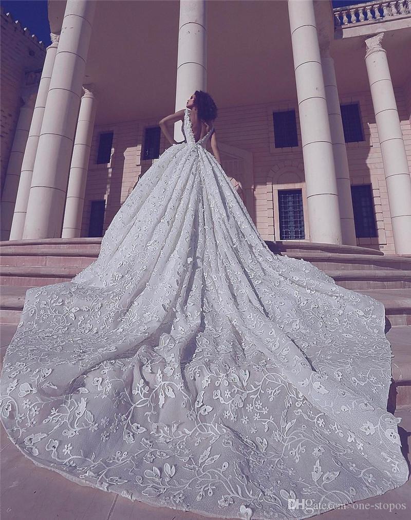 2019 Luxury Lace Appliqued Sequined 3D Flowers Wedding Dresses Vintage Spaghetti Princess Ball Gown Saudii Dubai Arabic Bridal Gown CPH023