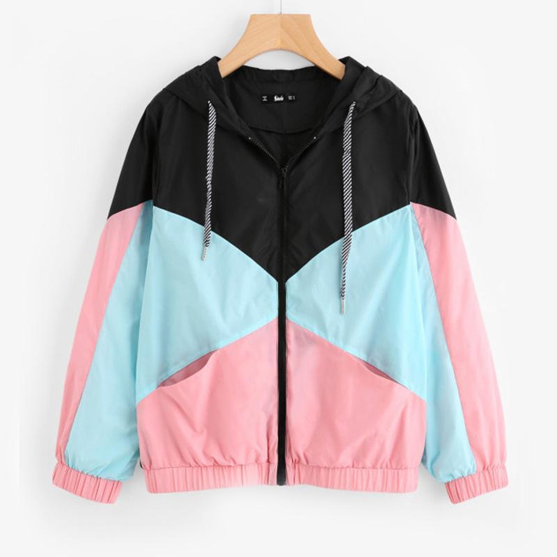 Protección Solar capa ocasional de las mujeres del remiendo chaquetas de deportes de la cremallera de primavera y verano prendas de vestir exteriores chaquetas al aire libre O-OA6587