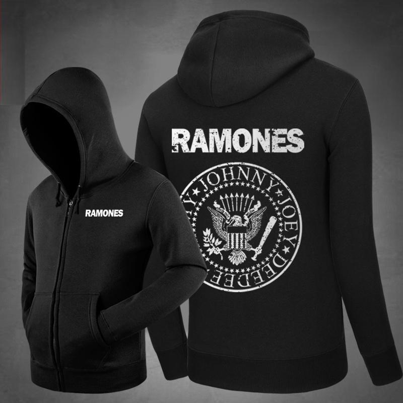 Nouveau Ramones Logo Music Hoodies Poches latérales Sweat à capuche Survêtement Unisexe Coton Zipper Manteau