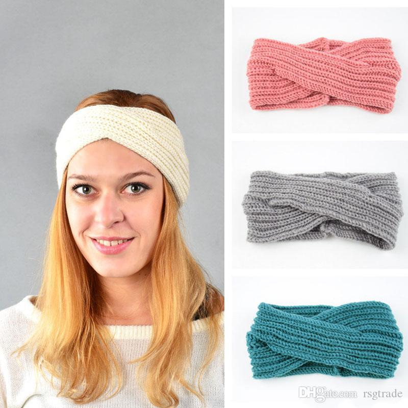 Gratuit DHL 15 couleurs Femmes Tricoté Cross Twist Hairband qualité tissés à la main Bandeaux Mode blanc Automne Hiver chaud Lady Accessoires cheveux