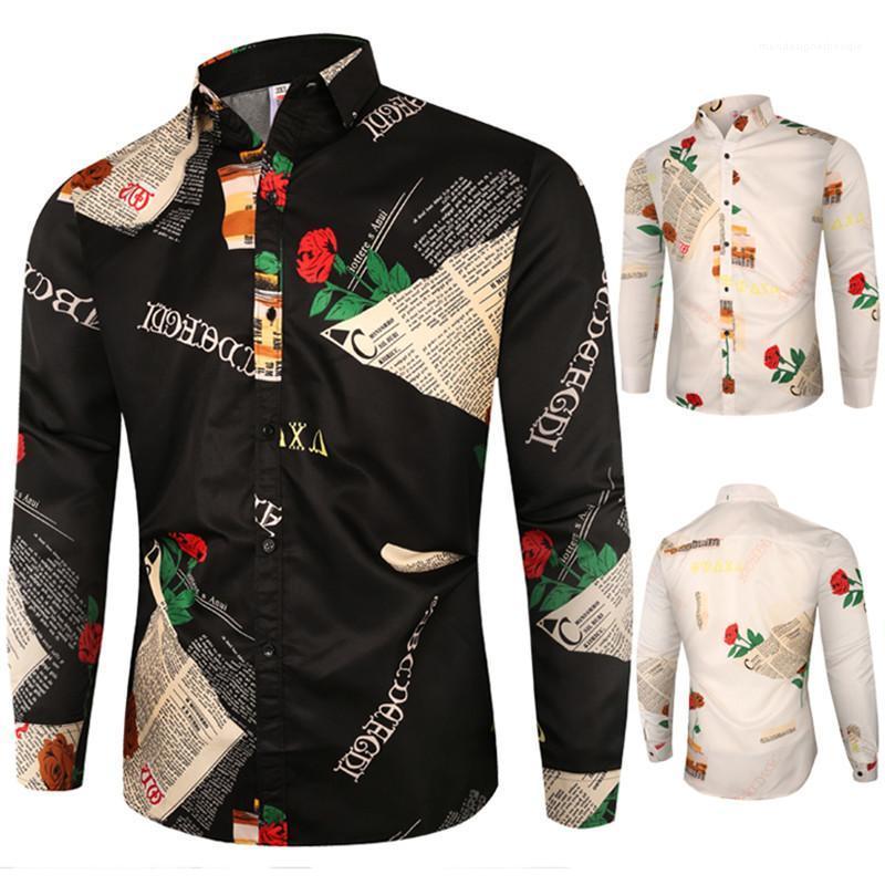 Apparel Mens Rose Print Long Sleeve Shirt Lapel Neck Casual Fashion Spring Slim Fit Shirt Homme