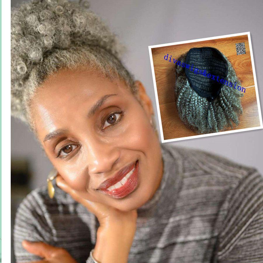 Frauen grau Haarverlängerung silbergrau Afro Puff verworrene lockige Kordelzug Menschenhaar Pferdeschwanz Clip in grauem Haar 80g 100g 120g