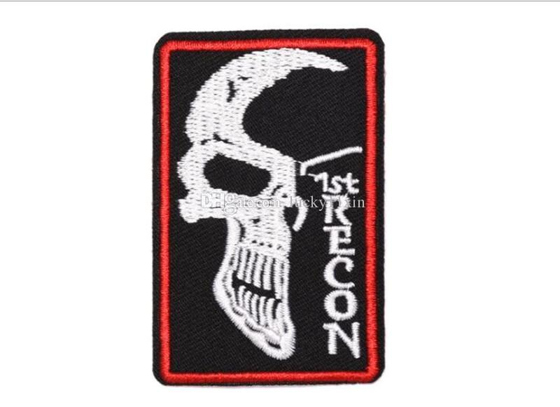 RECON SKULL Iron on Embroidered cartoon patch Shirt Kids Gift baby shirt bag trousers coat Decora