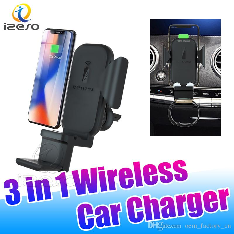 Qi Wireless Car Quick Charger N32 10W Wireless Fast Chargers Car Holder for iPhone 11 Samsung S10 Plus iWatch with Retail Packaging izeso
