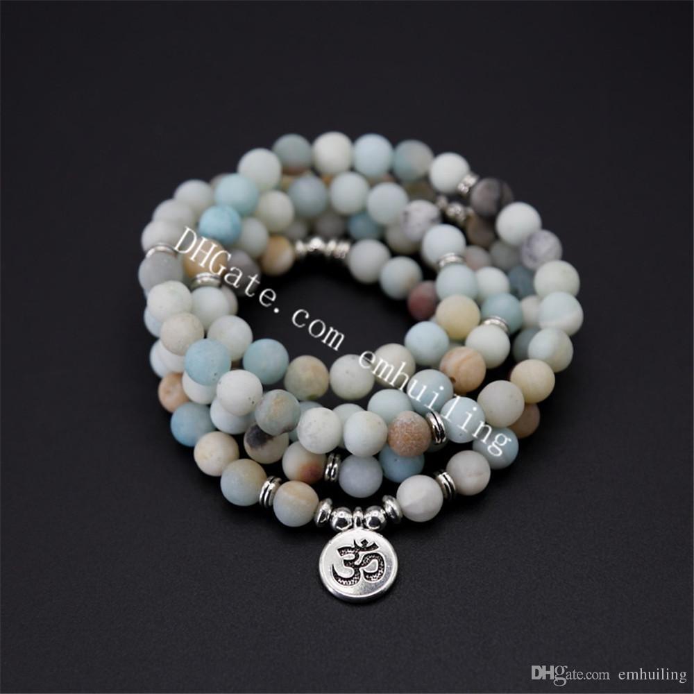 10Pcs 8mm Natural Mala Amazonite Gemstone Beaded Stretchy Bracelet 108 Prayer Beads OM Tree of Life Buddha Lotus Charm Stackable Bracelets