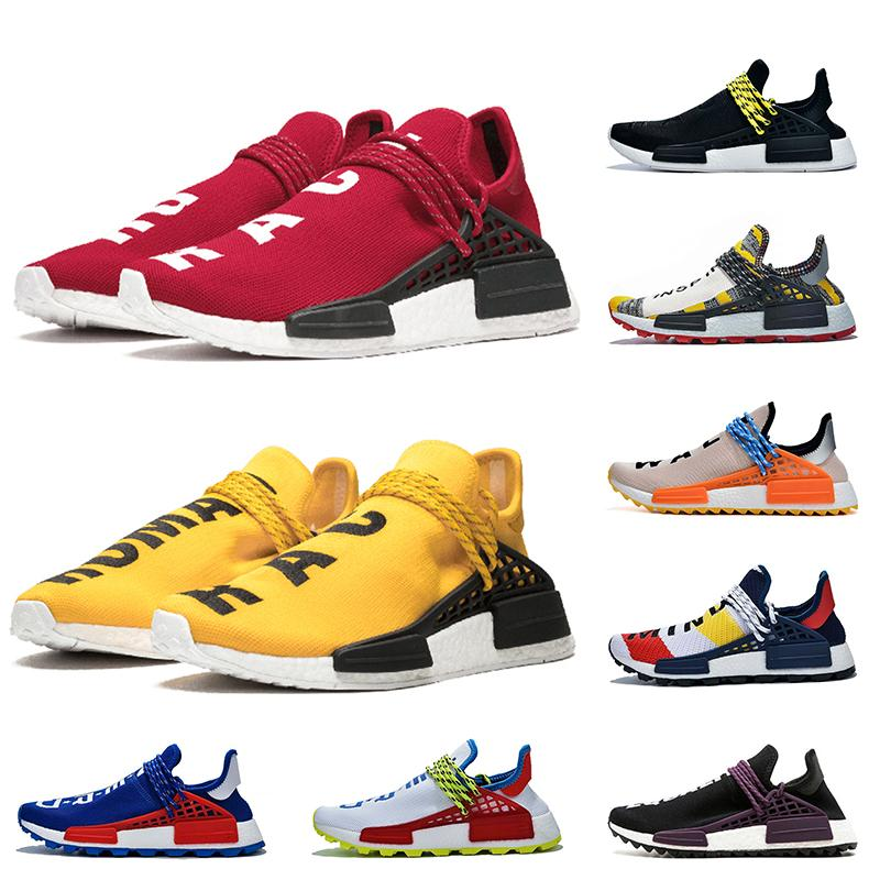 Adidas 2019 Pharrell Williams NMD Human Race Chaussures de course de race humaine BBC Plaid vert Coeur esprit Nerd blanc bleu égalité Sneakers OFF