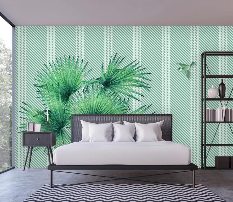 Costumbre pintado cualquier fondo de pantalla de mano pequeño fresco acuarela hojas tropicales pared del fondo de la TV salón dormitorio fondo de pantalla 3d