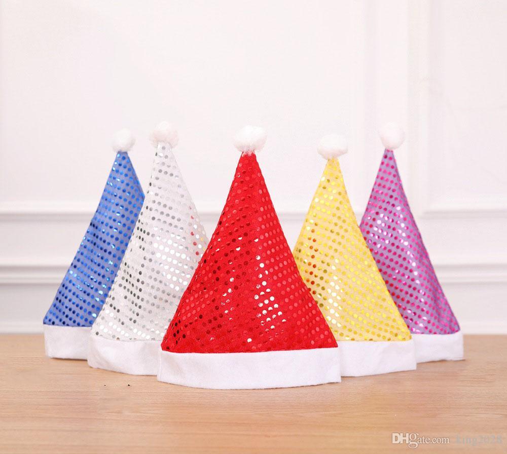 عيد الميلاد سانتا القبعات الترتر كاب القبعات حزب سانتا كلوز زي زينة عيد الميلاد للأطفال الكبار قبعة عيد الميلاد 5 ألوان