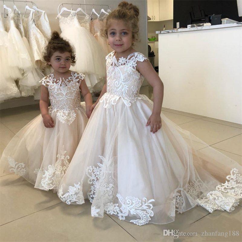 New White Comunhão Vestidos para Meninas Champanhe O-pescoço Sem Mangas de Baile Vestido de Renda Apliques Vestidos Da Menina de Flor para Casamentos