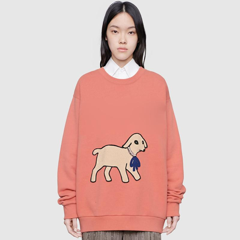 Fashion-Lamb Applique Cartoon Crewneck Sweatshirt Men Women Cute Pullover Autumn Winter Long Sleeve Hoodie Street Outwear HFYMWY330