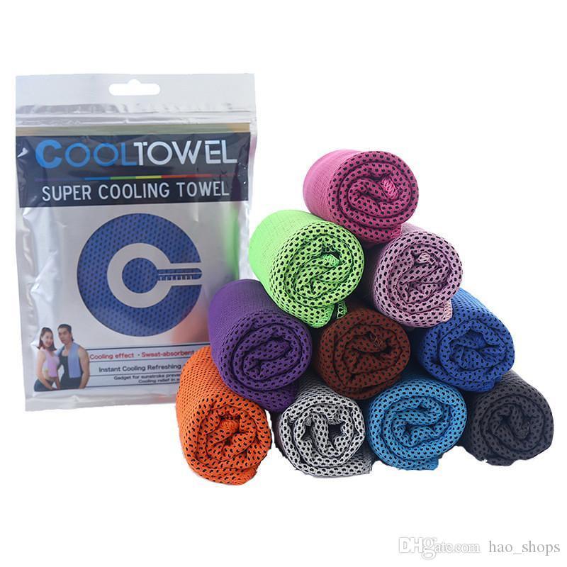 90 * 30 cm de doble capa de hielo de la toalla de refrigeración fría fresca del verano Deportes Toallas de refrigeración instantánea cara seca Bufanda suave y transpirable cinturón de hielo de la toalla