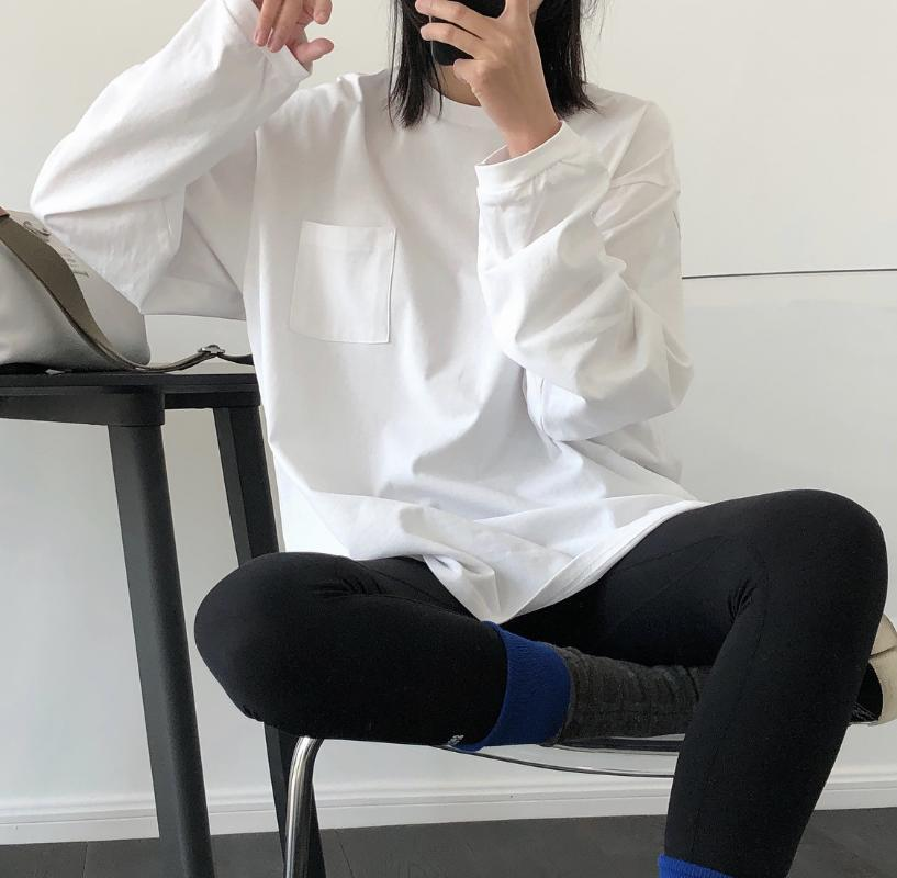 2020 Harajuku Frauen-Sommer-Cotton White T Shirts O-Ansatz lange Hülsen-Frauen Baumwolle T Shirts Tops Für Blusa JX0919