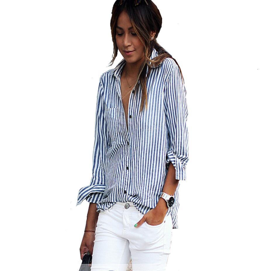 Frauen Top-Frauen Blusen-Sommer-beiläufige lose vertikale gestreifte Langarm-Bluse Shirt Blusa Feminina Vestido Plus Size