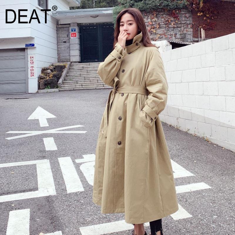 [DEAT] 2019 Novo Outono Inverno Lapela Manga Comprida Bandagem Solta Big Hem Split Joint Blusão Mulheres Trincheira Moda 13D467