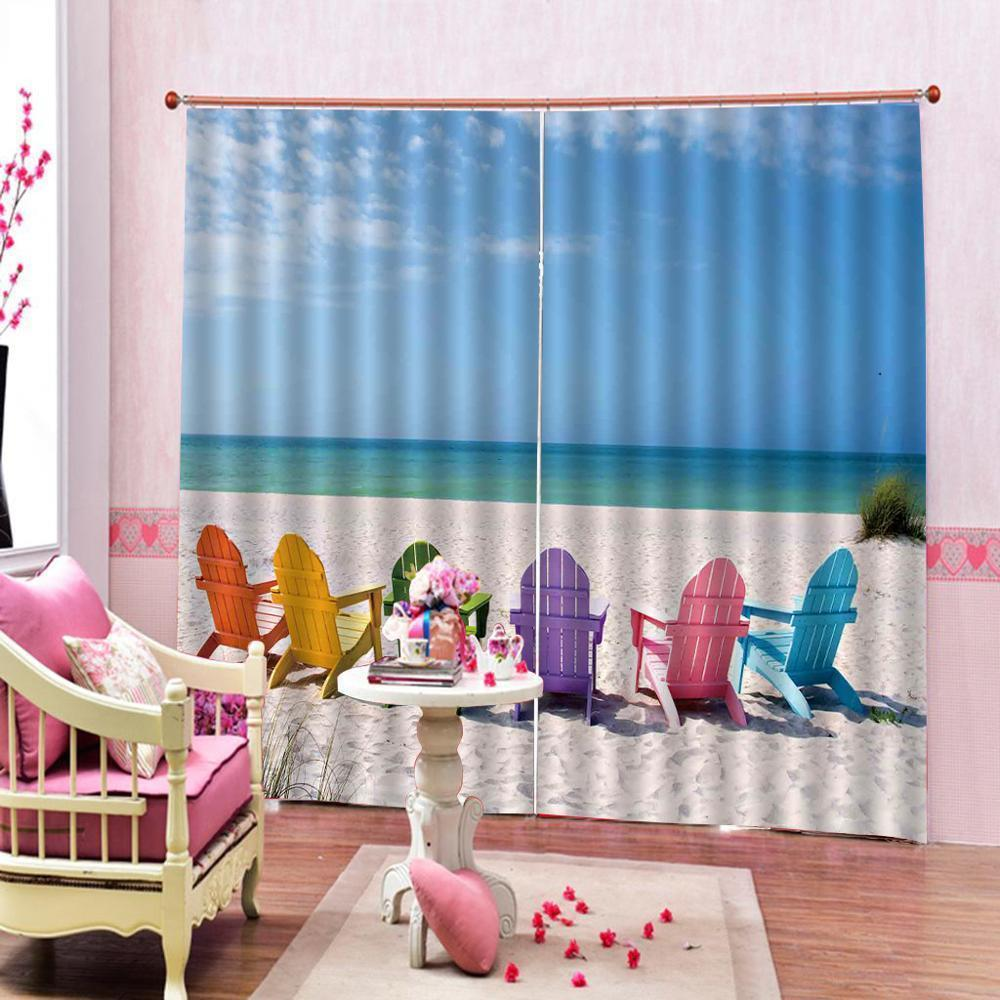 Shower Curtain Seaside Scenery Printed Blackout Curtains for living room blackout Digital print drapes