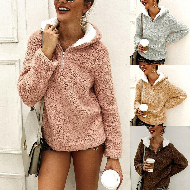 Heißer Verkauf-neue Frauen-Damen Teddy Fleece-Sweatshirt mit Kapuze Pullover Tops Pullover Pullover Größe S-XL