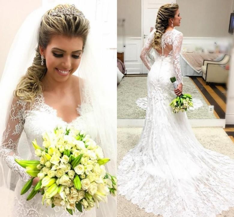 Romantische Spitze Mermaid Brautkleid mit Sheer 2020 mit langen Ärmeln Covered Knopf Boho Country Garden vestido de novia Brautkleider