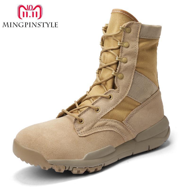 2018 leichte männer armee stiefel sandkampfstiefel atmungsaktive leinwand leder high top military schuhe männlich desert / dschungel taktische stiefel