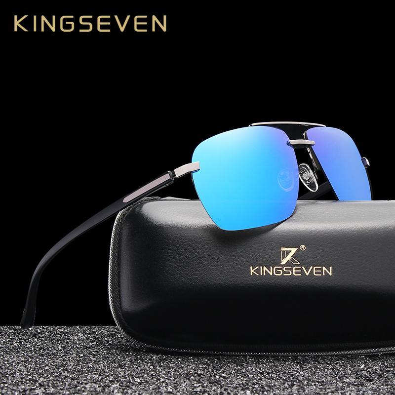 KINGSEVEN Aluminium TR90 polarisierten Sonnenbrillen Männer Treiber Spiegel Sonnenbrille Männlich Weiblich Angeln Brillen für Männer N7415