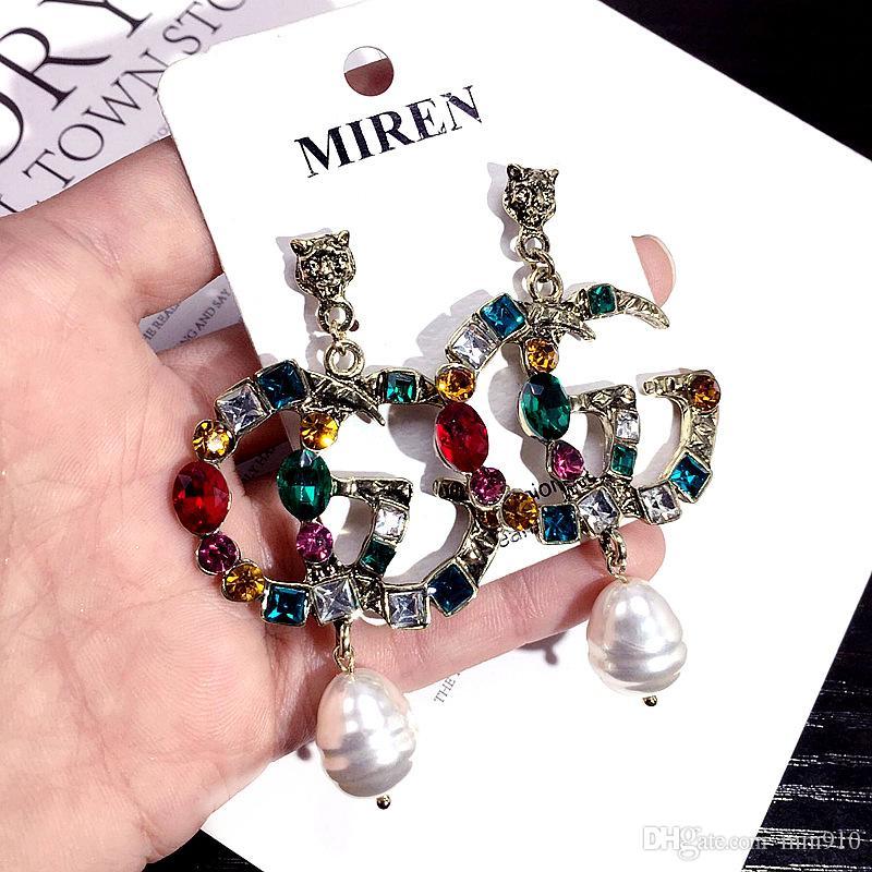 designer European Fashion Letters G Earrings Gold Silver Plated Ear Studs Double-G Earddrop For Women Girl Party Jewelry