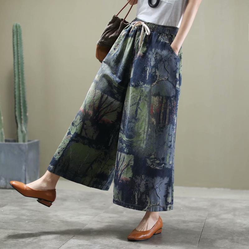 Primavera Nueva retro estilo étnico impresión de tinta Jeans mujer más el tamaño de la cintura elástico de dril de algodón flojo del tobillo de longitud de la pierna ancha pantalones de la vendimia