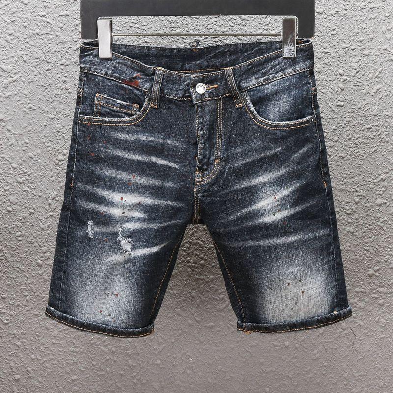dsquared2 DSQ D2 DSQUARED2 homens do desenhista curtas calça jeans reta buracos jeans apertados jean ocasional Discoteca azul de algodão verão Homens calças Lazer estilo hip hop