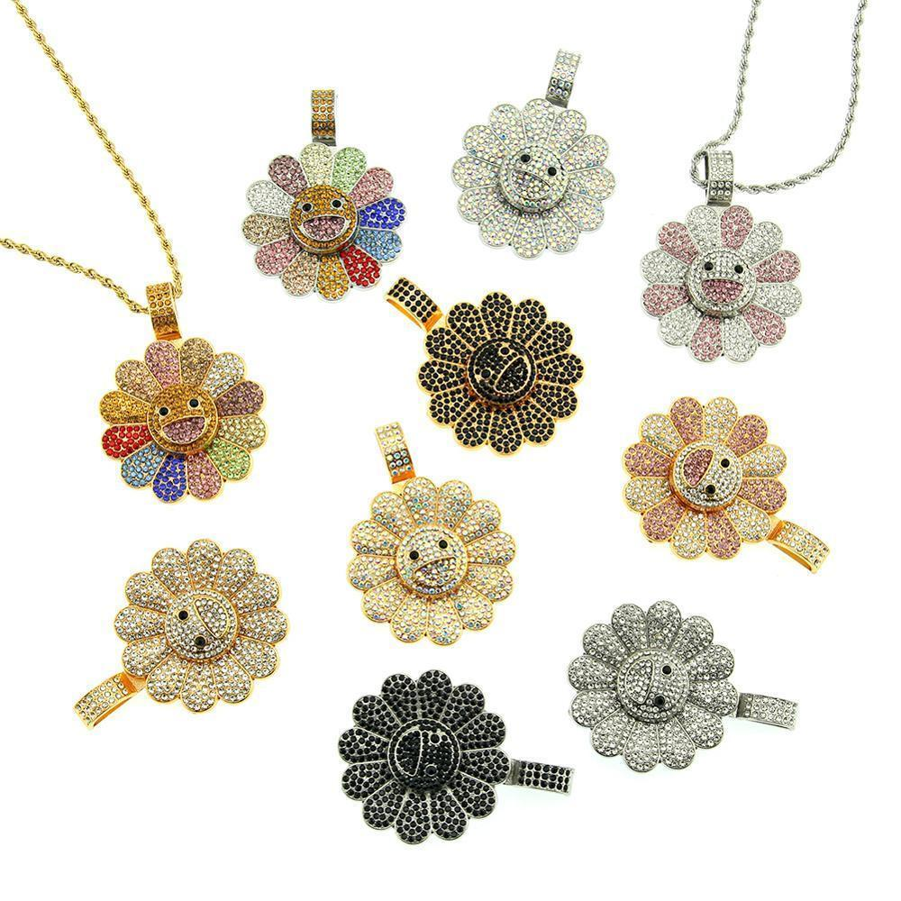 Hip Hop Rhinestones Paved Bling Iced Out Spinner Takashi Murakami Sunflower Pendants Necklace for Men Rapper Jewelry