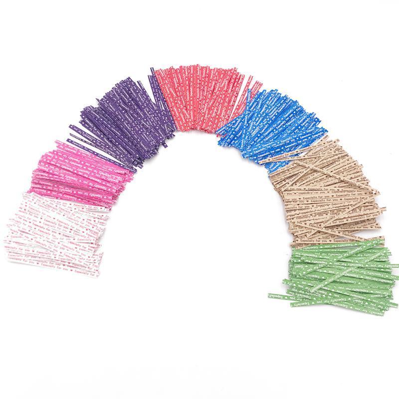 선물 포장 100 개 포장 넥타이 포장 특히 트위스트 파티 웨딩 빵집 쿠키 캔디 가방 편지 패턴 (F)