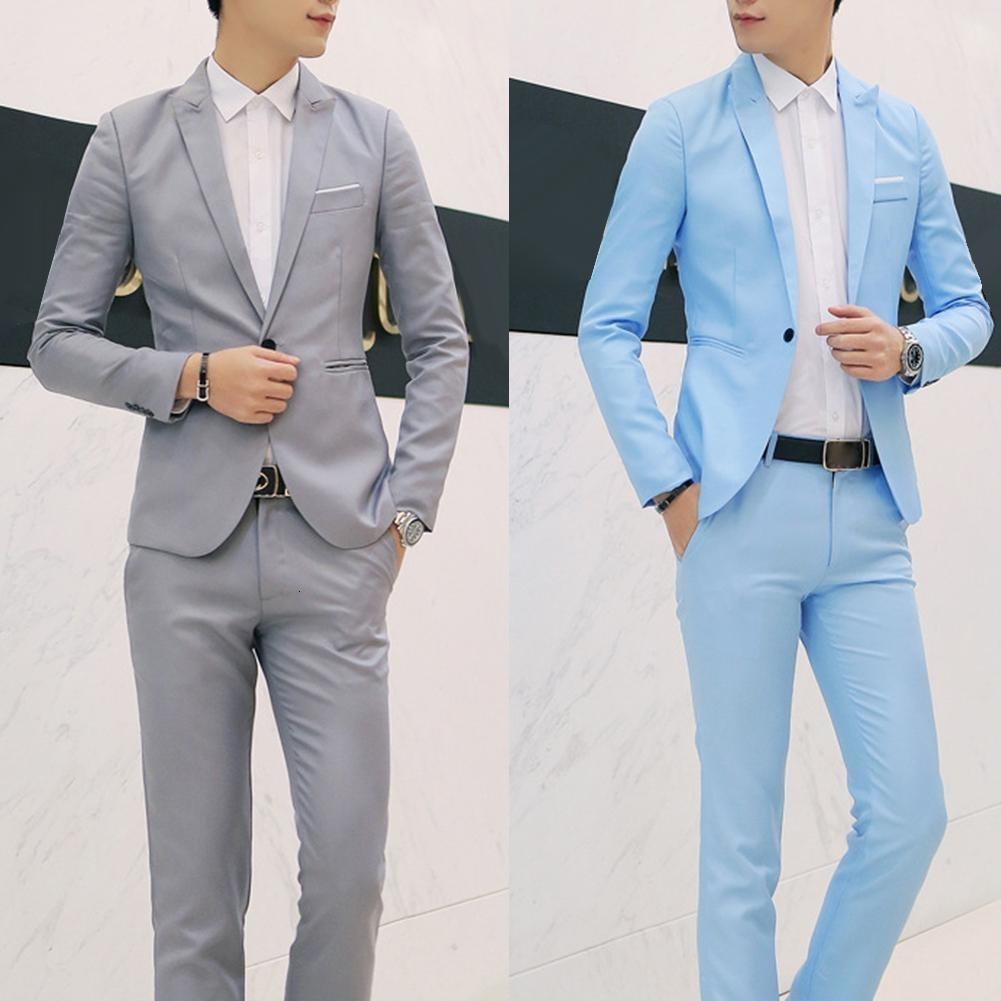 Mode-Männer Anzüge mit Hosen feste Blazer der Männer dünne Passend Hochzeit männlich Bräutigam Smoking Anzug Prom (Jacket + Pants) Kostüm homme LY191129