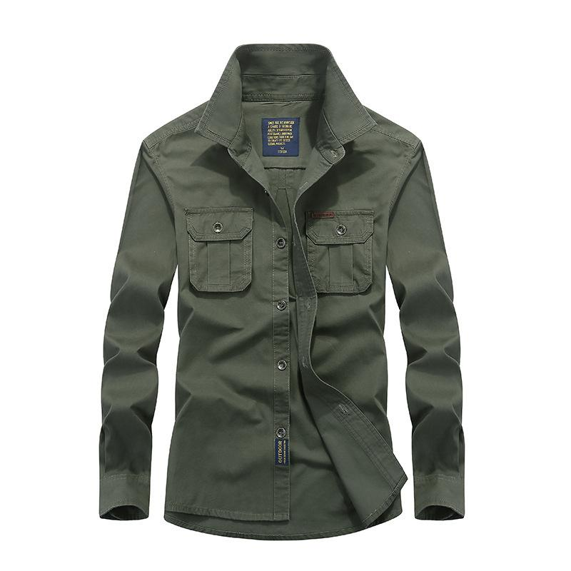 Men Shirt Mens Long Sleeve Slim Fit Tactical Blue Khaki Army Green Shirt High Quality Dress Men Plus Size 4XL