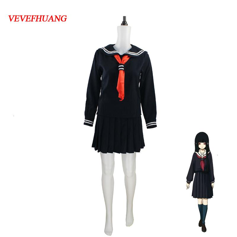 Uniformes VEVEFHUANG japonés / coreano Hell Girl Ai Enma cosplay traje de la escuela JK marinero Estudiante Traje Top + vestido + Tie + SocksMX190921