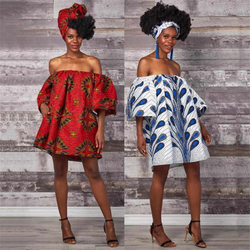 African Dresses for Women 2020 News Shoulder Off Sexy Mother Daughter Ladies Kids African American Baby Girl Clothes Plus Size