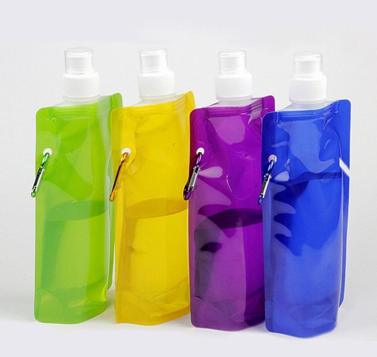 Новые 480ml складная бутылка воды бутылки Портативный складной спорт воды Drinkware воды мешок 1000шт / серия свободная перевозка груза