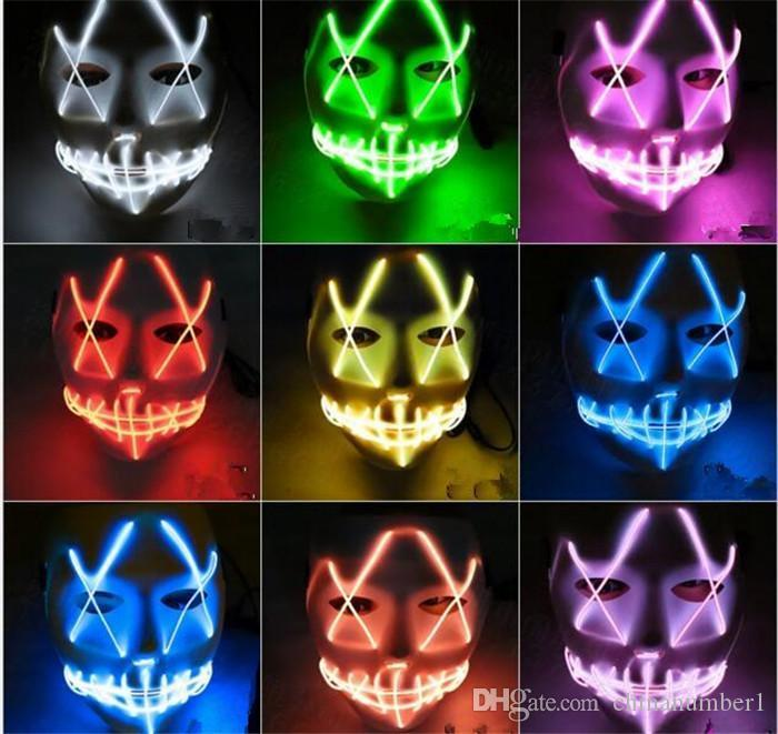 2pcs EL Wire Ghost Mask Slit Mouth Light Up Glowing LED Mask Halloween Cosplay Party Masks C190