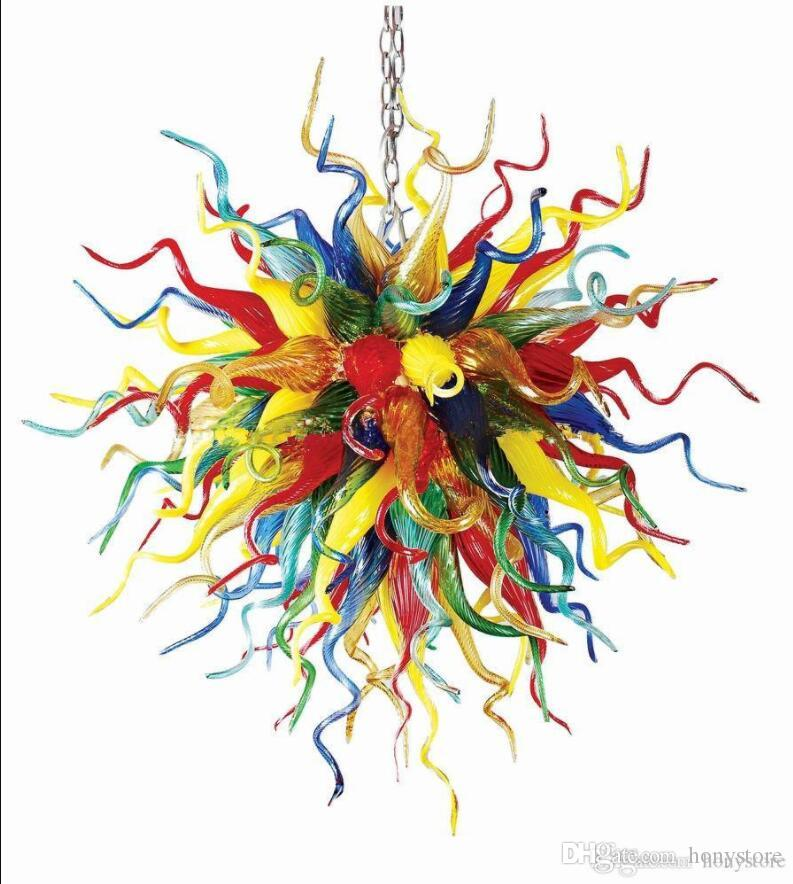 Colorful Lamps Italy Atistic Lobby Pendant Lamps Murano Style Hand Blown Glass Chandelier Lighting Art Decor
